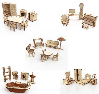 Большой набор кукольной мебели из дерева ХэппиДом Premium