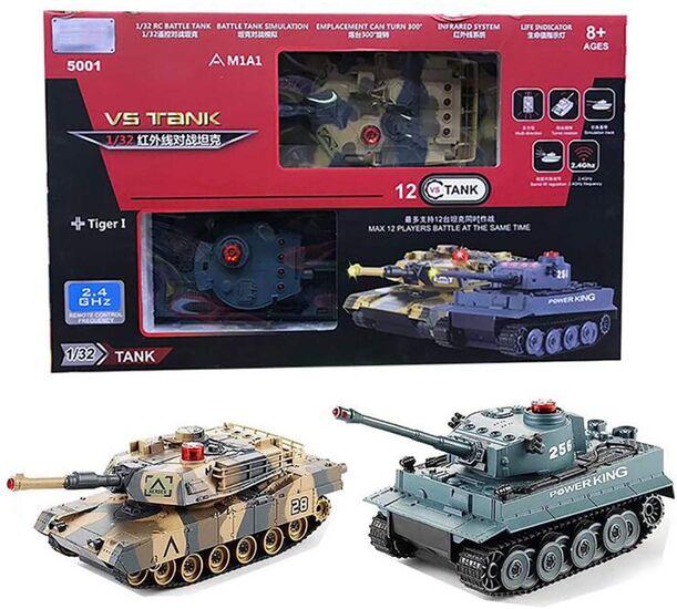 Радиоуправляемый танковый бой VS Tank Huan Qi 5001 Abrams vs Tiger 1:32 2.4G