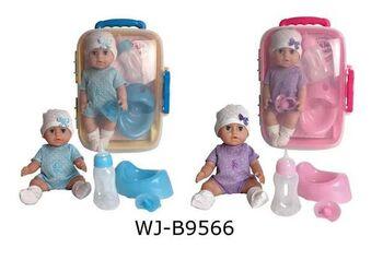 Игровой набор JUNFA Пупс 25см с аксессуарами в чемоданчике в вязаном комбинезончике с мишкой 2 вида в коллекции