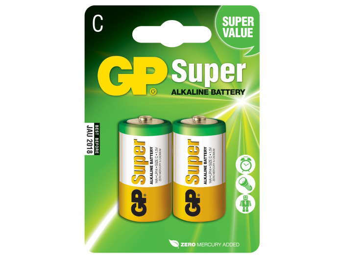 Батарейки для конструкторов SpaceRail GP Super Alkaline C типа (2 шт.)