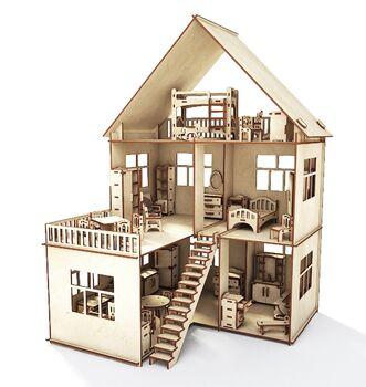 Конструктор-кукольный домик ХэппиДом Коттедж с пристройкой и мебелью из дерева