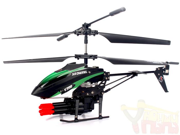 Вертолет на пульте WL Toys V398 с встроенной пушкой на 6 стрел (23 см)