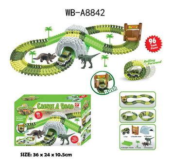 Гибкий трек Мир динозавров 96 элементов, 1 машинка, 2 фигурки динозавров, 36х24х10,6